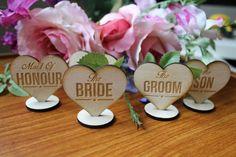 Wedding Table Setting Plaques and Favours - Wood Heart Wedding Decorations