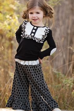 Persnickety Autumn Splendor Bell Pant Black – Posh Closet Children's Boutique