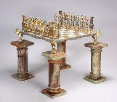 Beau A Marble Chess Table Supported By Four Parcel Gilt Horses On Marble  Pillars. Guide Price