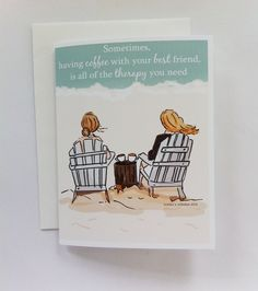 Best Friends Card Coffee Card Cards for por RoseHillDesignStudio