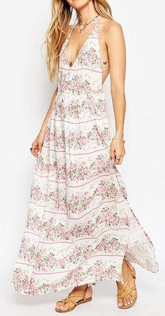 Stripe Floral Print Split Maxi Beach Dress