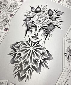 Lady tattoo design. Mandala blackwork dotwork tattoo. Portrait tattoo design. Design Tattoo, Tattoo Design Drawings, Best Tattoo Designs, Celtic Tattoo Symbols, Celtic Tattoos, Tattoo Outline, Dot Work Tattoo, Blackwork, Pocket Watch Tattoos