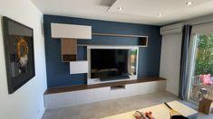 Tv Unit Interior Design, Tv Wall Design, Interior Design Living Room, Ceiling Design Living Room, Bedroom False Ceiling Design, Interior Decorating, Modern Tv Room, Modern Tv Wall Units, Tv Wand