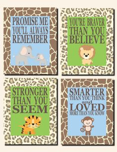 Baby Boy Nursery Jungle Theme Kids Wall Art Jungle Animals Elephants Lion Monkey Promise Me You'll Always Remember Set of 4 Prints or Canvas by vtdesigns on Etsy