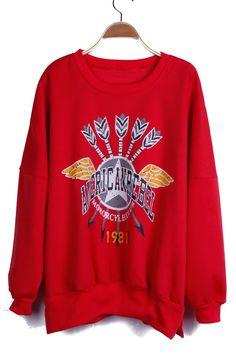 She inside red sweatshirt.