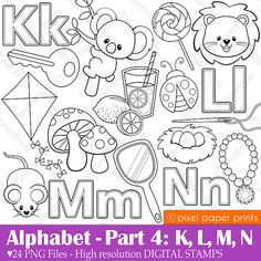 Alphabet Digital Stamps  Part 4 - KLMN clip art - School clipart