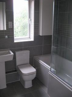 A Light Grey Linen Porcelain Tile Used For A Mini Bathroom - Bathroom installation contractors