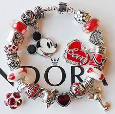 Authentic Pandora Silver Charm Bracelet Red Mickey Mouse Heart Charms Beads