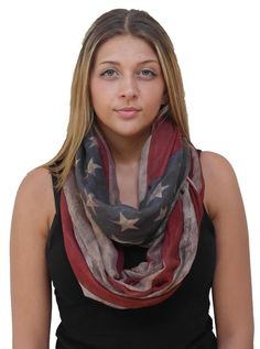 Demyrs Women's Fourth of July Summer Rustic Brown American Flag Patriotic Infinity Scarf