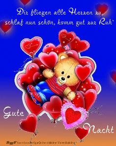 Grüße zur Nacht Good Night Sleep Tight, Good Morning Good Night, L Miss You, My True Love, Christmas Ornaments, Holiday Decor, Language, Teddy Bear, Thoughts
