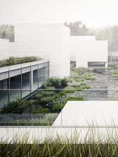large mass volumes with light glass + integration of water (pool) into the building
