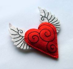 Tattooed Heart with Wings Felt Brooch by TheDollCityRocker on Etsy, $15.00: