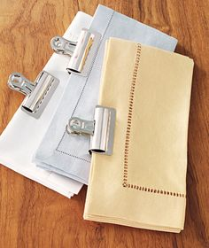 Binder Clip as Linens Organizer  Store sets of napkins clipped together and they'll always be ready to set the scene at dinnertime. You'll restore order to your linen closet and save minutes searching for elusive matching colors.