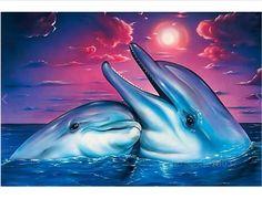 Diamond Mosaic Diy Diamond Embroidery Couple Drowning White Dolphin Diamond Painting Cross Stitch Floral Rhinestone Decoration #Affiliate