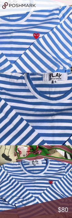 COMME Des GARÇONS PLAY long sleeve blue/white t S This COMME Des GARÇONS PLAY long sleeved t in sky blue/white with signature heart logo, is a Small, runs tiny, so is a 0-2.  NEVER WORN but has a small Sharpie marker spot, as in last photo; priced accordingly (sells on eBay for $140) I removed tags, washed to get out but a small mark remains. It's hard to see it...otherwise pristine Comme des Garcons Tops Tees - Long Sleeve