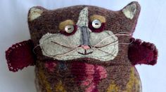 Stuffed Cat made from vintage upcycled sweaters mother by KolaCats