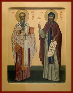 Cyril and Methodius Orthodox mounted icon Religion, Byzantine Icons, Orthodox Christianity, Orthodox Icons, Saints, Christian Art, Religious Art, Prayers, Creations