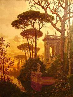 lukecandle:  Ferdinand Knab (1834-1902), Italian Villa in the Sea