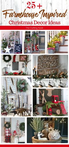 These 25 Farmhouse Inspired Christmas Decor Ideas will make you dream about starting decorating your home right now for Christmas! I'm so so eager to start! Hope you get as inspired as I am! These 25 Farmhouse Decoration Christmas, Farmhouse Christmas Decor, Noel Christmas, Rustic Christmas, Xmas Decorations, Christmas Projects, Winter Christmas, All Things Christmas, Christmas Wreaths