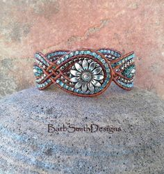 Blue Silver Cuff Bracelet Super Duo Beads The by BarbSmithDesigns