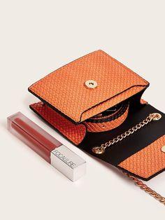 Ad: Mini Textured Flap Fanny Pack. Tags: Casual, 100% PU, Orange, Bright, Yes, Adjustable, Chain, Mini, Plain #fashion #womenfashion #womenclothes #shein Fanny Pack, Bum Bags, Mini, Bright, Orange, Chain, Tags, Casual, Fashion
