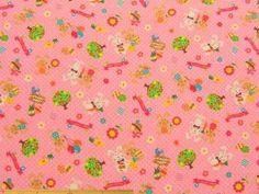 スモック、ナフキン、キンチャク、袋物など入園、入学グッズの製作に 中肉程度のウサギ柄コットンCBポプリンプリント(ピンク) 110cm巾 綿100% - そーいんぐ・すていしょん コミニカ