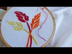 Hand Embroidery: Lazy daisy stitch variation - YouTube