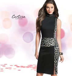 Animal print dress with black panels and zipper detail. #fallfashion #musthave #Cartise #women #apparel #coloryourlife www.cartise.ca