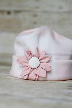 Pretty Pink Fleece Flower Hat by MilliesFrillies on Etsy, $12.00