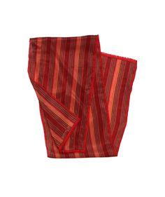 Oscar de la Renta Red Striped Silk Scarf