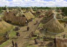 This reconstruction drawing illustrates the settlement at Silchester as it may have appeared during the Iron Age. After the Roman conquest of Britain in AD 43, the settlement developed into a town. Peter Urmston