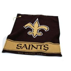 """NFL New Orleans Saints Woven Golf Towel by Team Golf. $16.99. Includes corner hook for easy attachment to the golf bag. 16"""" x 19"""" woven golf towel. Top and bottom hem includes school name. 100% cotton. NFL New Orleans Saints Woven Golf Towel"""