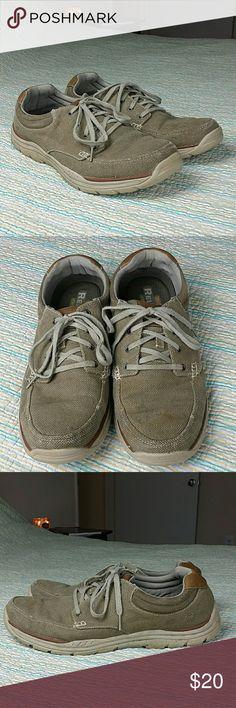 Skechers Sz 13 Relaxed Fit Memory Foam Khaki Shoes Skechers Men's Sz 13 Relaxed Fit Memory Foam Brown Khaki Canvas Lace Up Casual Shoes Skechers Shoes Sneakers