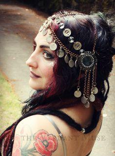 Art Deco Headdress- Shi Sha Mirror, Brass Chain, Coin and Crystal Headpiece Tribal Fusion Bellydance