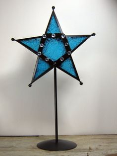 Wrought Iron Star Tea Candle Holder Royal Blue by gilstrapdesigns, $35.00