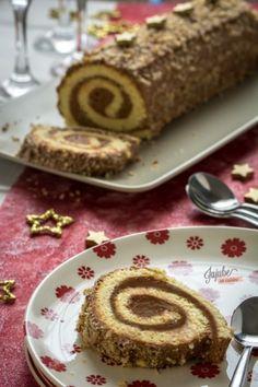 Bûche pâtissière au chocolat praliné. (http://www.jujube-en-cuisine.fr/?p=11829)