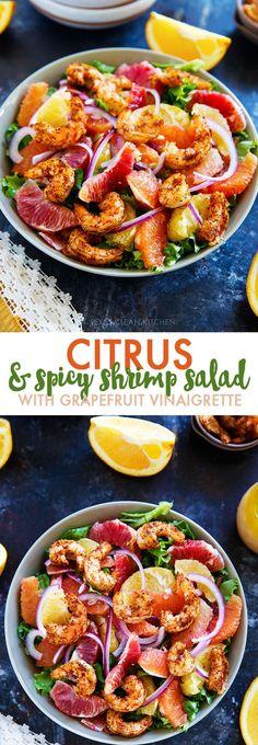 Spicy Shrimp and Winter Citrus Salad with Grapefruit Vinaigrette | Lexi's Clean Kitchen