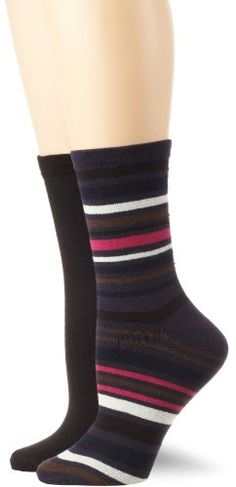 K Bell Socks Womens 2 Pack Varigated Stripe Gift Set Charcoal 911 >>> Read more reviews of the product by visiting the link on the image.