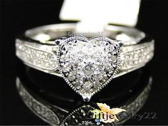 1.32 Ct Diamond Heart Round Cut Engagement Wedding Bridal Ring In 14K White Gold #giftjewelry22 #SolitaireWithAccentsHeartStyle