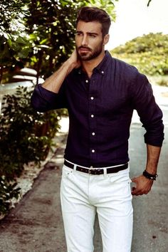 Dark button down with white jeans.