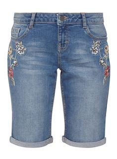 Petite Mid Wash Knee Length Embroidered Shorts