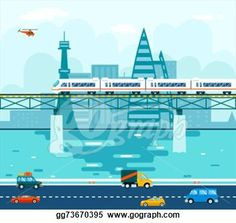Road Cars Wagons on Bridge over River Transport Symbol Railroad Train Travel Concept City Sky Background Flat Design Vector Illustration