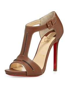 Christian Louboutin In My City Leather T-Strap Red Sole Sandal, Cognac - Neiman Marcus