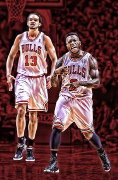Nate Robinson and Joakim Noah Bulls Basketball Design, Nba Basketball, Chigago Bulls, Joakim Noah, Nate Robinson, Nba Pictures, Sports Art, Sports Teams, Nba Players