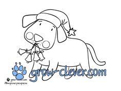новогодняя раскраска собака скачать бесплатно / santa's dog coloring page