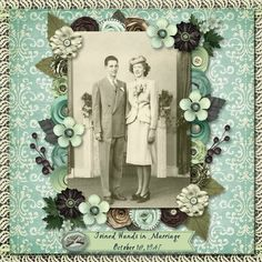 Joined Hands In Marriage, October 18, 1947...a striking patterned blue-green background with a lovely flowered photo border in similar shades gives the layout a wonderful 1940s feel and compliments the photo's tones beautifully.