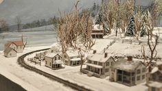 A row of houses on the N-scale layout