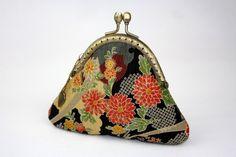 Coin Purse - Sakura Chrysanthemum - Cotton Fabric with Vintage Metal Frame (Polka Dot Lining). $18.90, via Etsy.