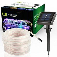 LE® 10m RGB LED Solarlichterkette mit Lichtsensor, 1,2 V 100 LEDs, wasserdicht IP55, tragbar, Außenlichterkette, LED Lichterketten Für Hochzeit, Party und Weihnachten, Weihnachtsbeleuchtung