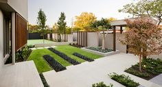 Modern front yard landscaping great contemporary garden decor in with concrete steps as way to ideas . Minimalist Landscape, Minimalist Garden, Modern Landscape Design, Modern Garden Design, Modern Landscaping, Contemporary Landscape, Front Yard Landscaping, Landscaping Ideas, Backyard Ideas
